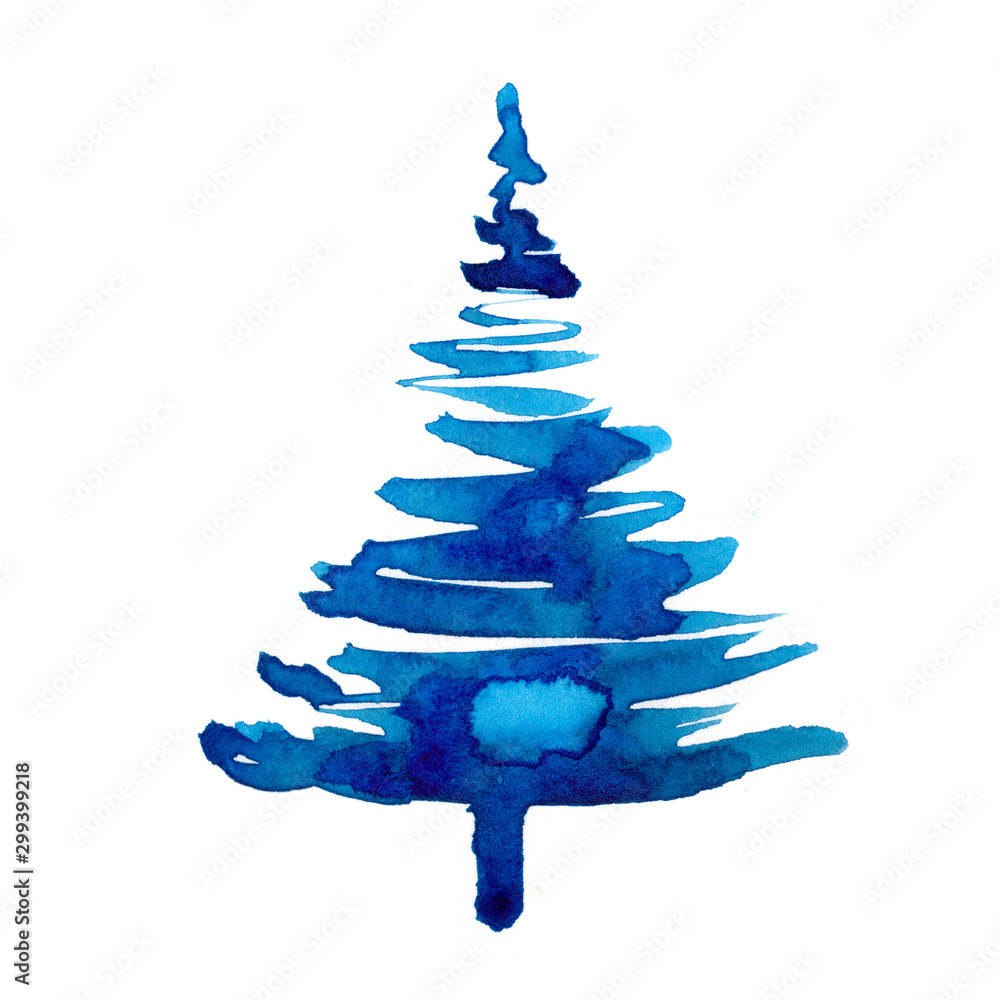 Fototapety, obrazy: Watercolor winter christmas tree isolated on white background. Hand painting Illustration spruce for print, texture, wallpaper or greeting card. Blue color. Beautiful watercolour art. Pine tree