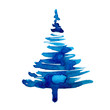 Leinwanddruck Bild - Watercolor winter christmas tree isolated on white background. Hand painting Illustration spruce for print, texture, wallpaper or greeting card. Blue color. Beautiful watercolour art. Pine tree