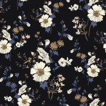 Seamless Vector Pattern With Bouquets Of Mallow