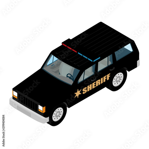 Police car isometric view isolated on white background Wallpaper Mural