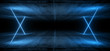 Dark Concrete Futuristic Sci Fi Alien Spaceship Tunnel Underground Blue Colored Laser Neons Modern Empty Night Background 3D Rendering