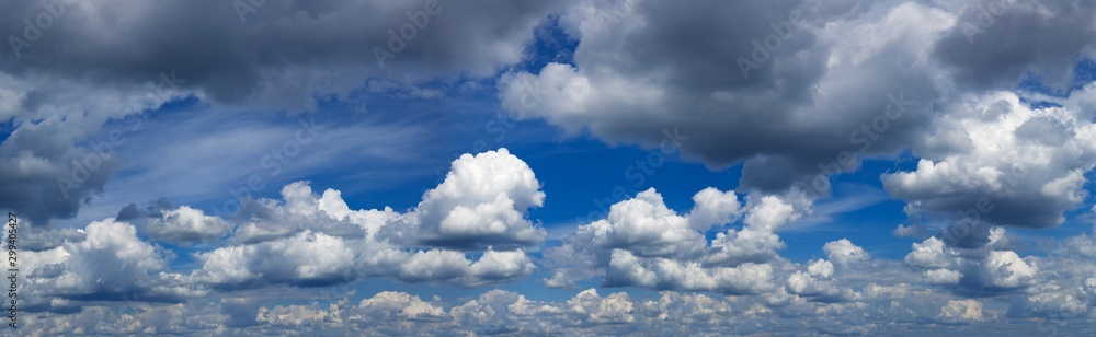 Fototapety, obrazy: Blue sky with white and dark clouds. Panoramas photo.Stock photo