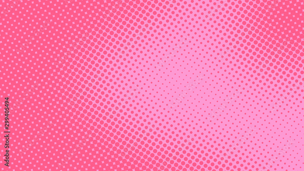 Fototapety, obrazy: Baby pink pop art background in retro comic style with halftone dots design, vector illustration eps10