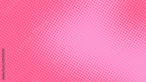 Baby pink pop art background in retro comic style with halftone dots design, vec Tablou Canvas