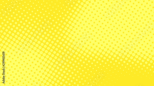 Obraz Modern yellow pop art background with halftone dots desing in comic style, vector illustration eps10 - fototapety do salonu