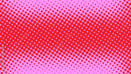 Pink and red pop art background in retro comic style with halftone dots design, vector illustration eps10