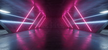 Sci Fi Futuristic Alien Tunnel Ship Corridor Underground Laser Purple Blue Neon Light Lines On Grunge Reflective Concrete Empty Space Background 3D Rendering