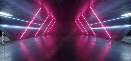 Sci Fi Futuristic Alien Tunnel Ship Corridor Underground Laser Purple Blue Neon Light Lines On Grunge Reflective Concrete Empty Space Background 3D Rendering - 299407011