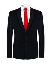 Red Tie, White Shirt And Black Suit. Close Up. Vector