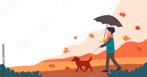 Man walking the dog in autumn. Cute vector illustration in flat style.