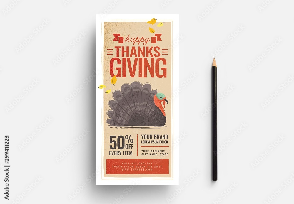 Fototapety, obrazy: Thanksgiving Event Flyer Layout