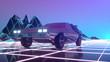 canvas print picture - Retro futuristic car in 80s style moves on a virtual neon landscape. 3d illustration