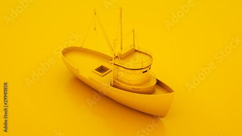 Poster Peche Fishing Boat. Minimal idea concept. 3d illustration