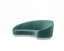 Isolated Kidney Shaped Green Velvet Sofa