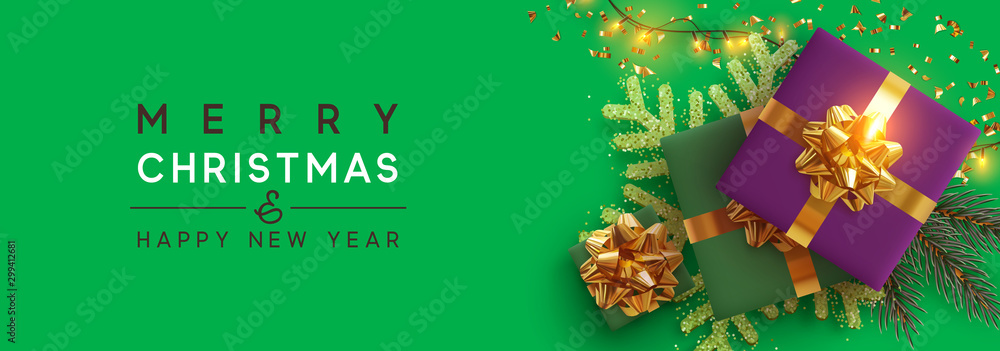 Fototapety, obrazy: Christmas banner. Background Xmas design of sparkling lights garland, with realistic gifts box, gold snowflake and glitter gold confetti. Horizontal christmas poster, greeting cards, headers, website