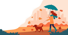 Woman Walking A Dog In Autumn ...