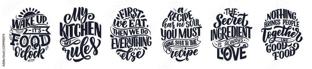 Photo  Set with vector quotes in hand drawn unique typography style, elements for greeting cards, decoration, prints and posters