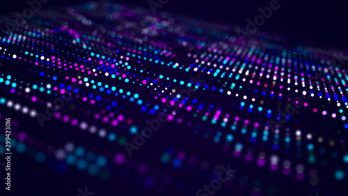 Fotomural  Abstract digital background. Big data code matrix. 3d rendering.