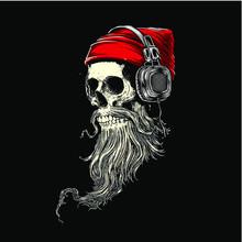 Skull With Santa Hat TSHIRT DE...