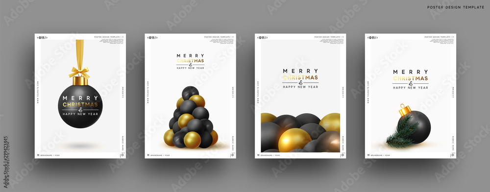 Fototapety, obrazy: Merry Christmas and Happy New Year. Festive background with round Xmas balls, Christmas tree, pine shape. Realistic decorative design elements. Set Poster, cover, banner. Vector 3d object black color