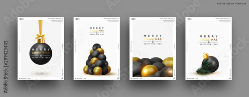Fotobehang Bol Merry Christmas and Happy New Year. Festive background with round Xmas balls, Christmas tree, pine shape. Realistic decorative design elements. Set Poster, cover, banner. Vector 3d object black color