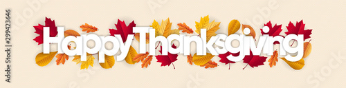 Fotomural happy thanksgiving banner with dried leaves decoration