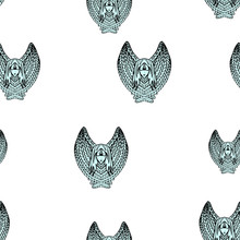 Seamless Pattern With Stylized Cherubs And Angels.  Endless Texture For Religious And Christmas Theme Decoration.
