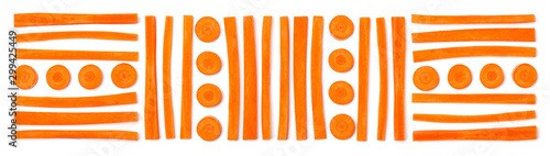 Fotomural  Creative layout of sliced carrot