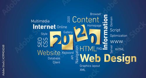 Fototapety, obrazy: Web Design New Year 2020 gold white word cloud blue board background