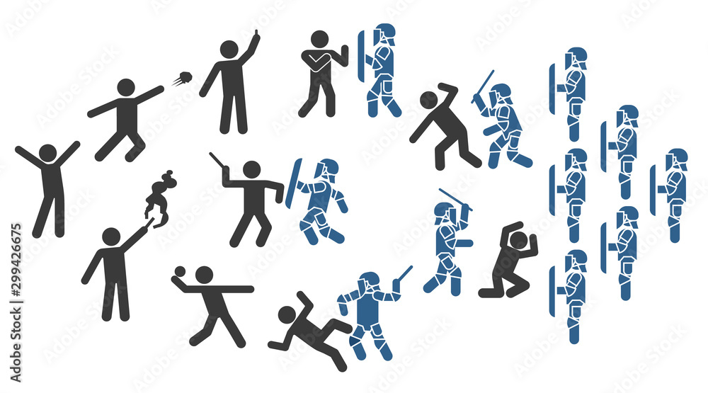 Fototapety, obrazy: Police special forces. Set of icons that represent confrontation between police and demonstrators. Set of pictograms that represent police and protesters clash.