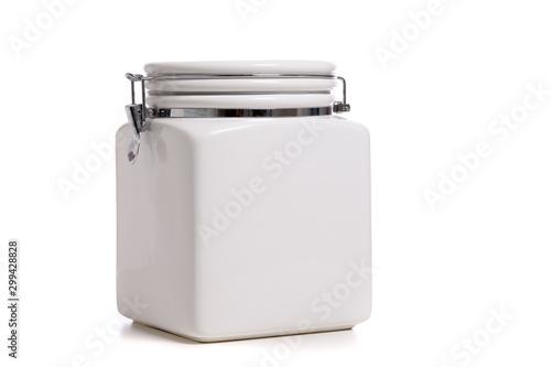 Slika na platnu White ceramic cookie Jar on white background with copy space
