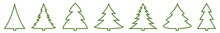 Christmas Tree Green Shape Icon   Fir Tree Illustration   X-mas Symbol   Logo   Isolated Variations