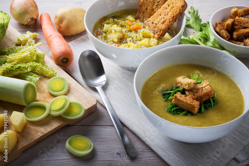 Foto auf Leinwand London Savoy cabbage soup with potatoes leeks and carrots