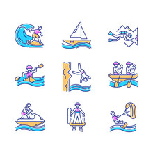 Watersports Color Icons Set. Cave Diving, Surfing, Flyboarding And Sailing. Cliff Diving, Kayaking And Windsurfing. Extreme Kinds Of Sports. Summer Beach Activities. Isolated Vector Illustrations