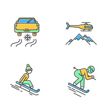 Extreme Winter Activity Color Icons Set. Risky Sport Hobby, Adventure. Cold Season Outdoor Leisure And Recreation. Ice Driving, Sledding And Heli Skiing. Isolated Vector Illustrations