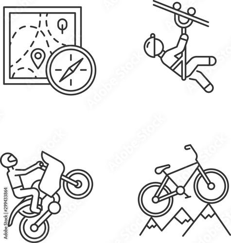 Cuadros en Lienzo  Extreme sports linear icons set
