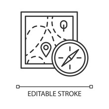 Foot Orienteering Linear Icon. Map And Compass. Navigating In Unfamiliar Terrain. Navigation Equipment. Thin Line Illustration. Contour Symbol. Vector Isolated Outline Drawing. Editable Stroke