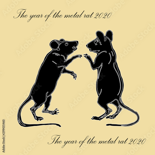 Fototapeta two painted isolated silhouettes of mice, rats