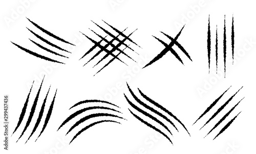 Obraz Claw scratches mark set. Vector scrape track. - fototapety do salonu