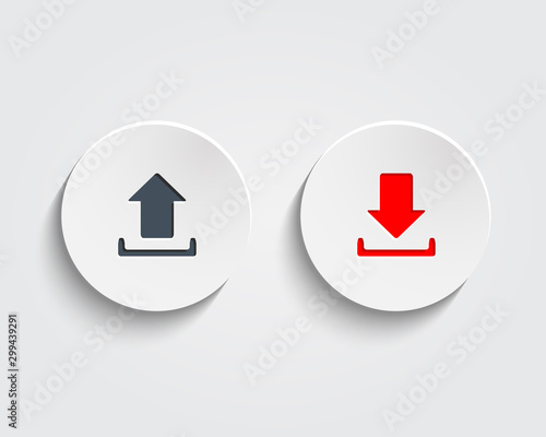 Vászonkép  Vector download and send the arrow marks on buttons