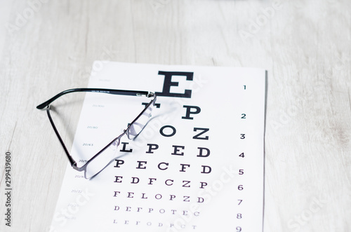 glasses and Eyeglasses on table of check of vision close up - Myopia or hyperopi Wallpaper Mural