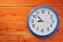 Blue Vintage Watch On Wooden B...