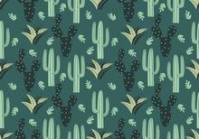 Trendy Cactus Seamless Pattern...