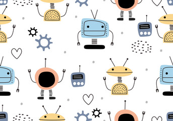 Funny robots seamless pattern with scandinavian drawing style. Robot hand drawn colorful cyborg character. Vector illustration for kids and baby apparel fashion textile print.