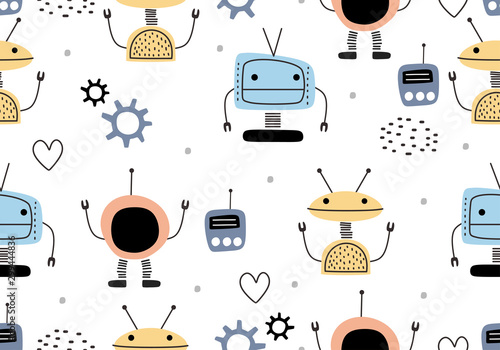 fototapeta na lodówkę Funny robots seamless pattern with scandinavian drawing style. Robot hand drawn colorful cyborg character. Vector illustration for kids and baby apparel fashion textile print.
