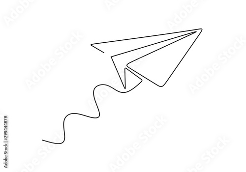 Obraz Continuous one line drawing of paper airplane. Concept of plane flying symbol of creativity and freedom. - fototapety do salonu