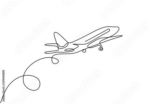 Pinturas sobre lienzo  Continuous one line drawing of airplane jet transportation theme