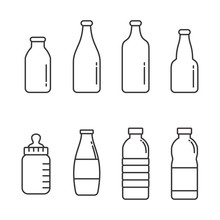 Set Of Bottle Vector Illustration With Simple Line Design. Bottle Icon, Drinks Icon