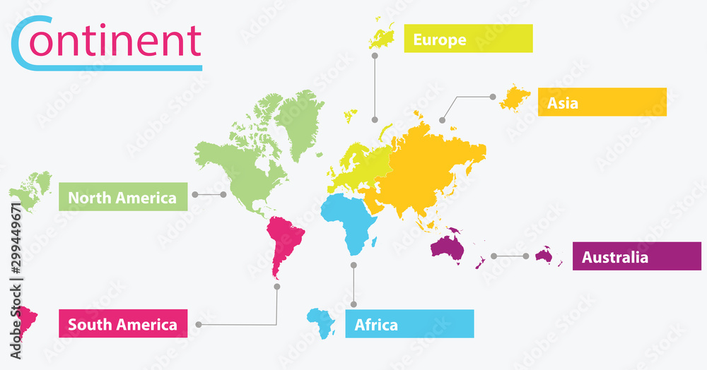 Fototapety, obrazy: World map Divide the continent with various colors. on white background.Labels for different continents