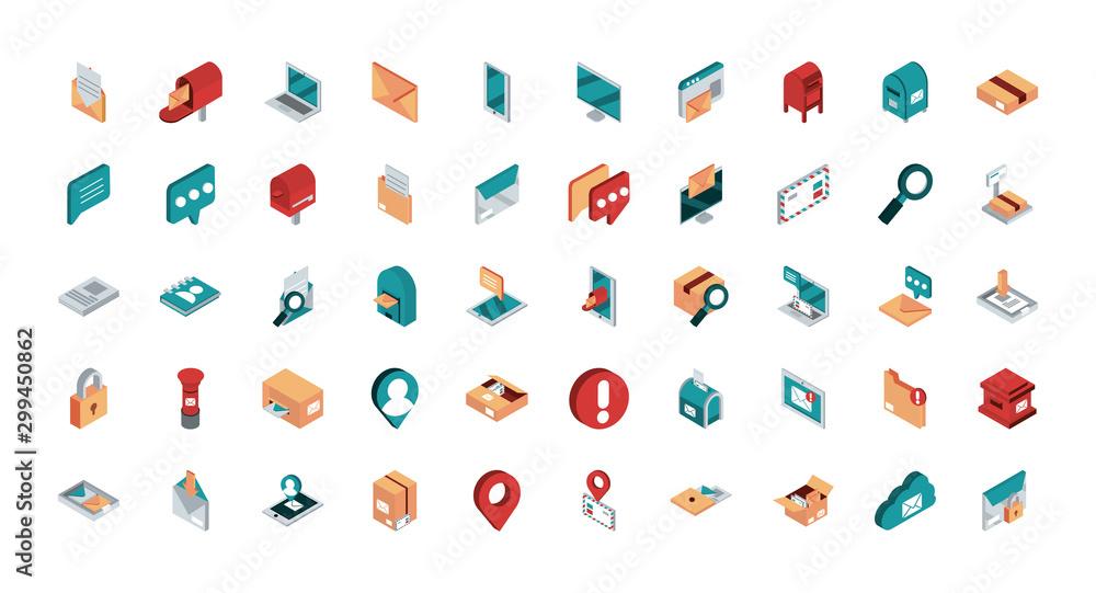 Fototapety, obrazy: correspondence postal mail isometric icons set